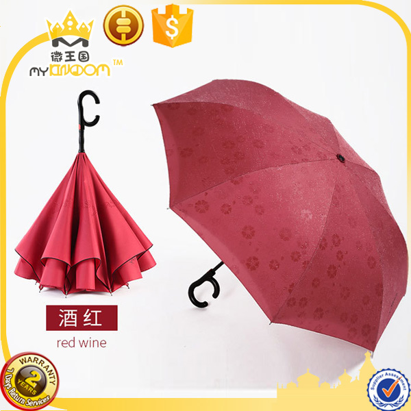 Show the Flower Meet Water 190T Pongee Fabric Inverted Car Umbrella , Free hands C Handle Umbrella