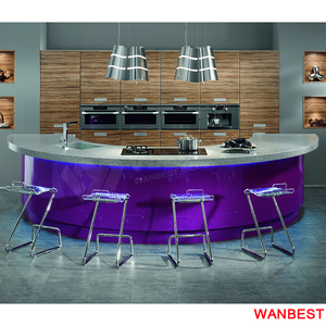 Modern Marble Top Half Round Home Bar Counter Kitchen Cabinet Island Bench Set