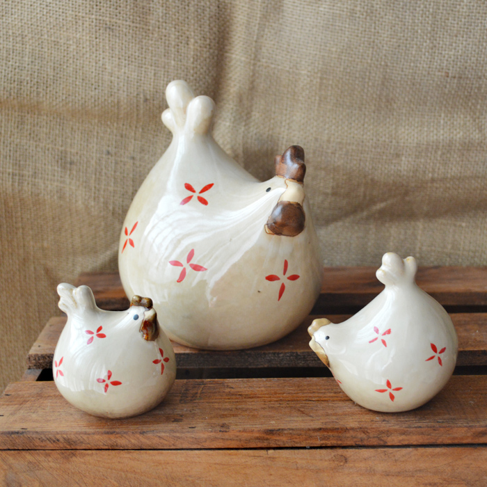 Limited time package! A family of three ceramic Chicken <font><b>Rooster</b></font> hen ornaments crafts <font><b>Home</b></font> Furnishing <font><b>Decor</b></font>