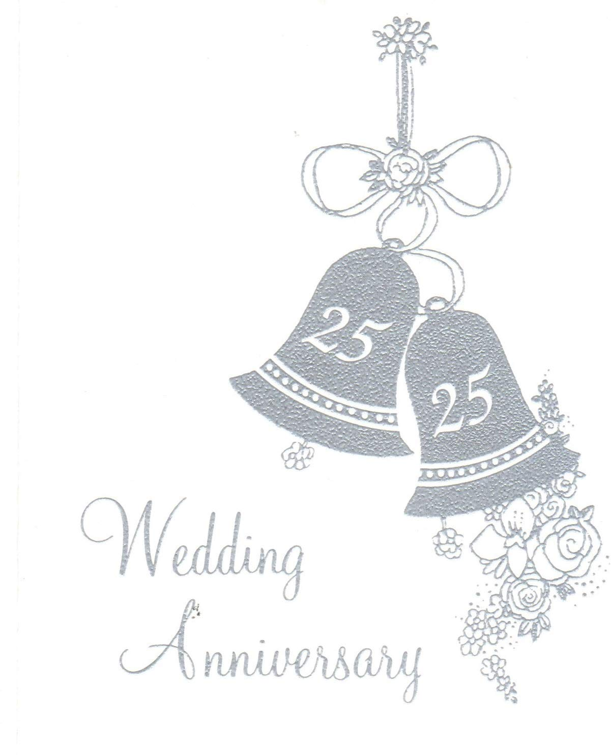 Get Quotations · 25th Wedding Anniversary Invitations, Silver Bells Silver Print 25 Count