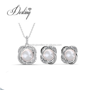 Destiny Jewellery 18K gold plated set fashion bridal pearl jewelry set imitation pearl made with crystals from Swarovski
