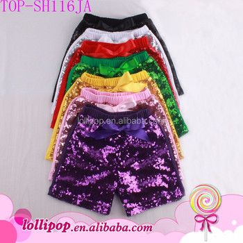 Kids Baby Girls Sequins Shorts Wholesale Summer Party Embroidery Bling Sparkle Sequin Short Pants Cotton Costume Hot Sale