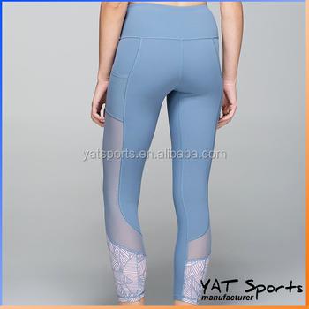 23b27a6a3a810 Mesh Insert Side Pocket Women Compression yoga Pants sublimation printing  design Custom Yoga Tights