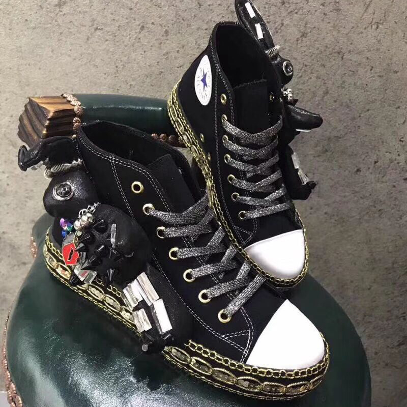 head fun handmade tie flat of top shoes women's shoes round beaded doll casual personality New version high women's Korean qYw8Sx8t
