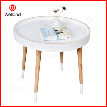 Round Wooden Tray Coffee Table With 4 Legs