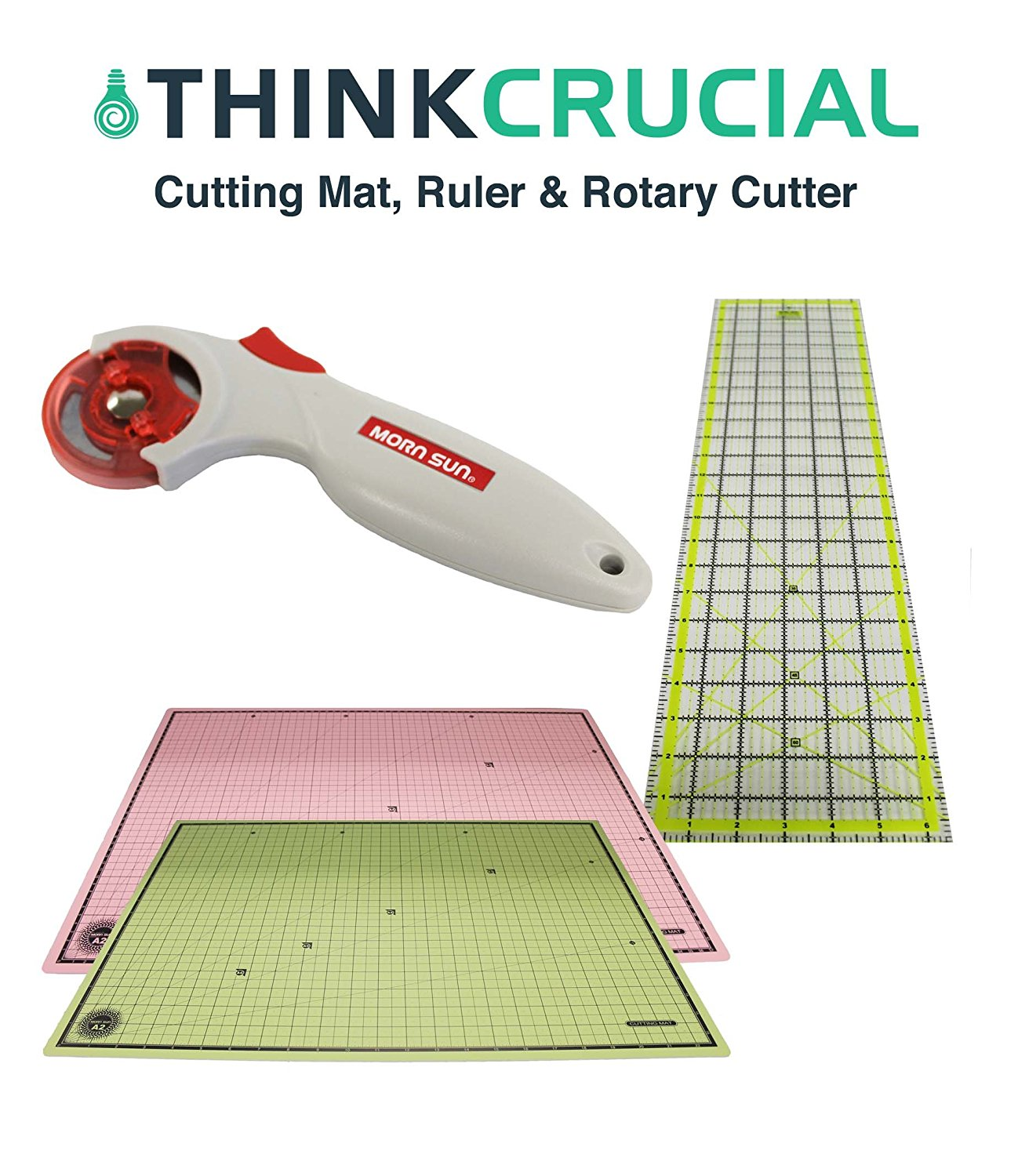 Think Crucial Durable 24x18 Self Healing Reversible Cutting Mat, 6x24 Inch Acrylic Cutting Ruler & 45mm Contour Rotary Cutter