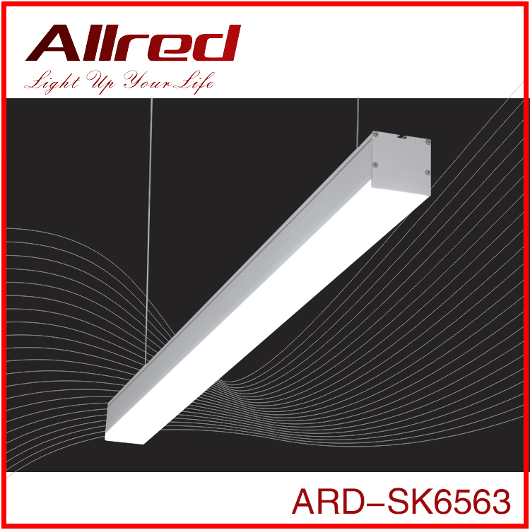 indoor modern design industrial aluminum luminaire ceiling suspension linear led office hanging pendant light for gym