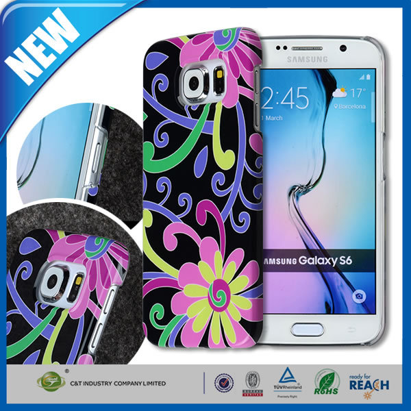 C&T Custom Nature Flower Bloom PC Black Back Cover Case for Samsung galaxy S6