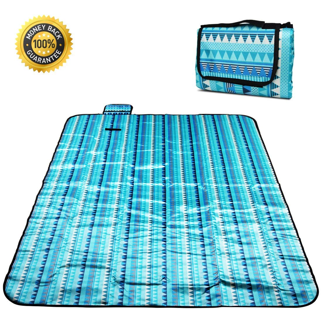 Aimerday Sand Free Beach Blanket 80″x 60″ Oversized Outdoor Family Picnic Blanket Fits 6+ Adults Waterproof Compact Sand Proof Beach Mat for Summer Beach, Travel, Hiking, Camping, Festivals