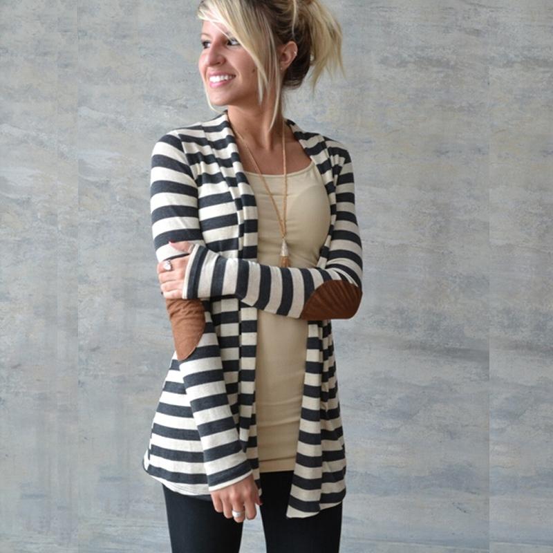 d17f03f49 Fashion Women Ladies Long Sleeve Striped Cotton Autumn Casual Top ...