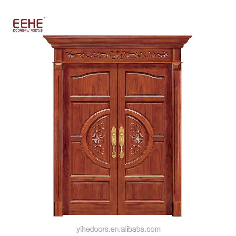 Double Leaf Entry Door Teak Wood Main Door Designs Models
