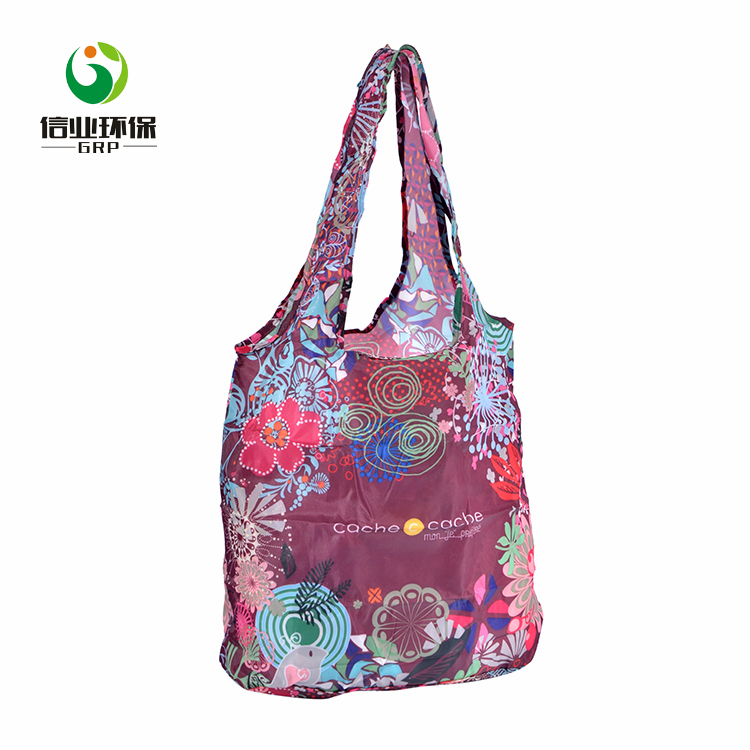 High quality colorful printing cute reusable foldable polyester shopping bag