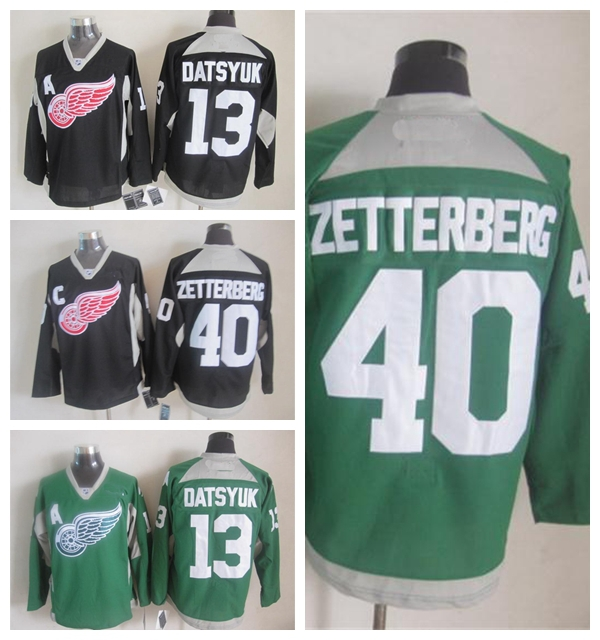 3c5f3 caec1  switzerland 2015 st. patricks day detroit red wings hokcey jersey  green practice 13 pavel datsyuk ca8135fbb