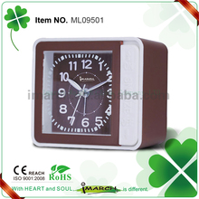 Chinese supplier ABS/plastic rectangle LED back light melody quartz table alarm clock