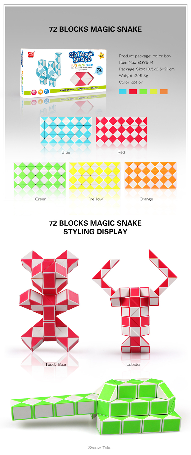 Highly bent plastic color diy snake puzzle cube for exercises brain
