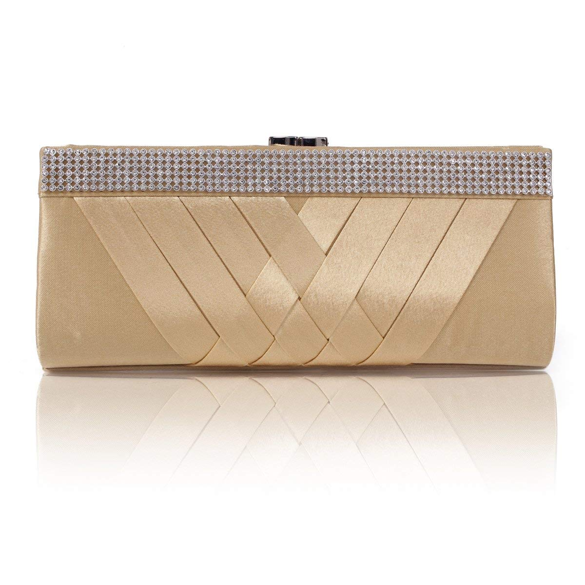 334dadd5f1 Get Quotations · Damara Women s Chic Statin Pleated Clutch Rhinestones Evening  Bag