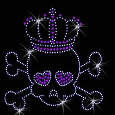 beautiful skull with crown for rhinestone heat transfer iron on design