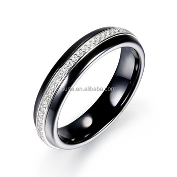 Fashion Black Ceramic Wedding Bands With Silver Elements Womens