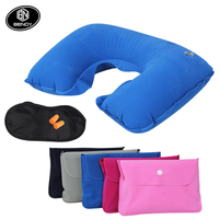 wholesale 3 in 1 airline Travel inflatable neck support pillow sleep eye mask ear plug set kit