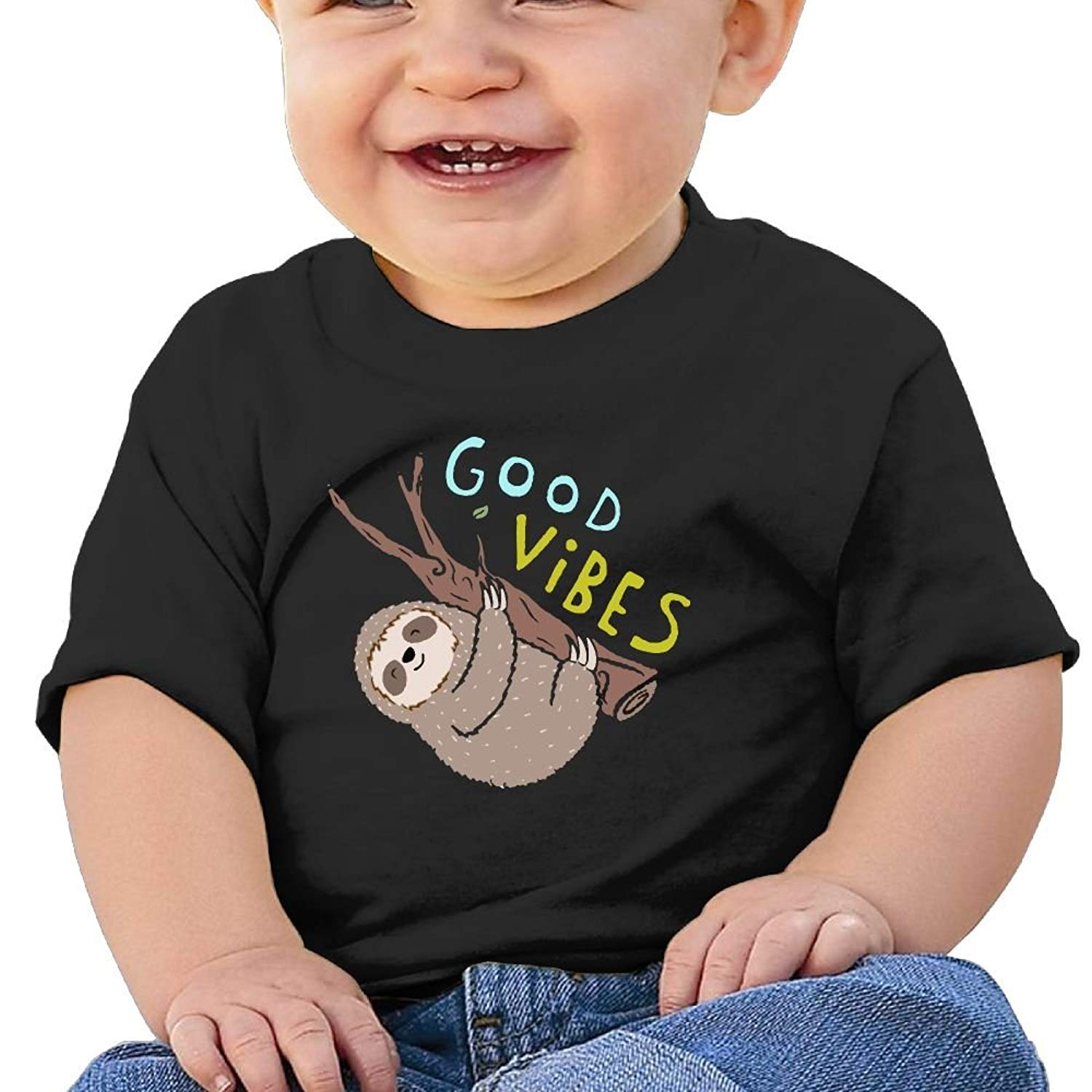 b2a268ec9 Get Quotations · YUEskd Good Vibes Funny Sloth Baby Boys Girls Summer Short  Sleeve Crew Neck T-Shirt
