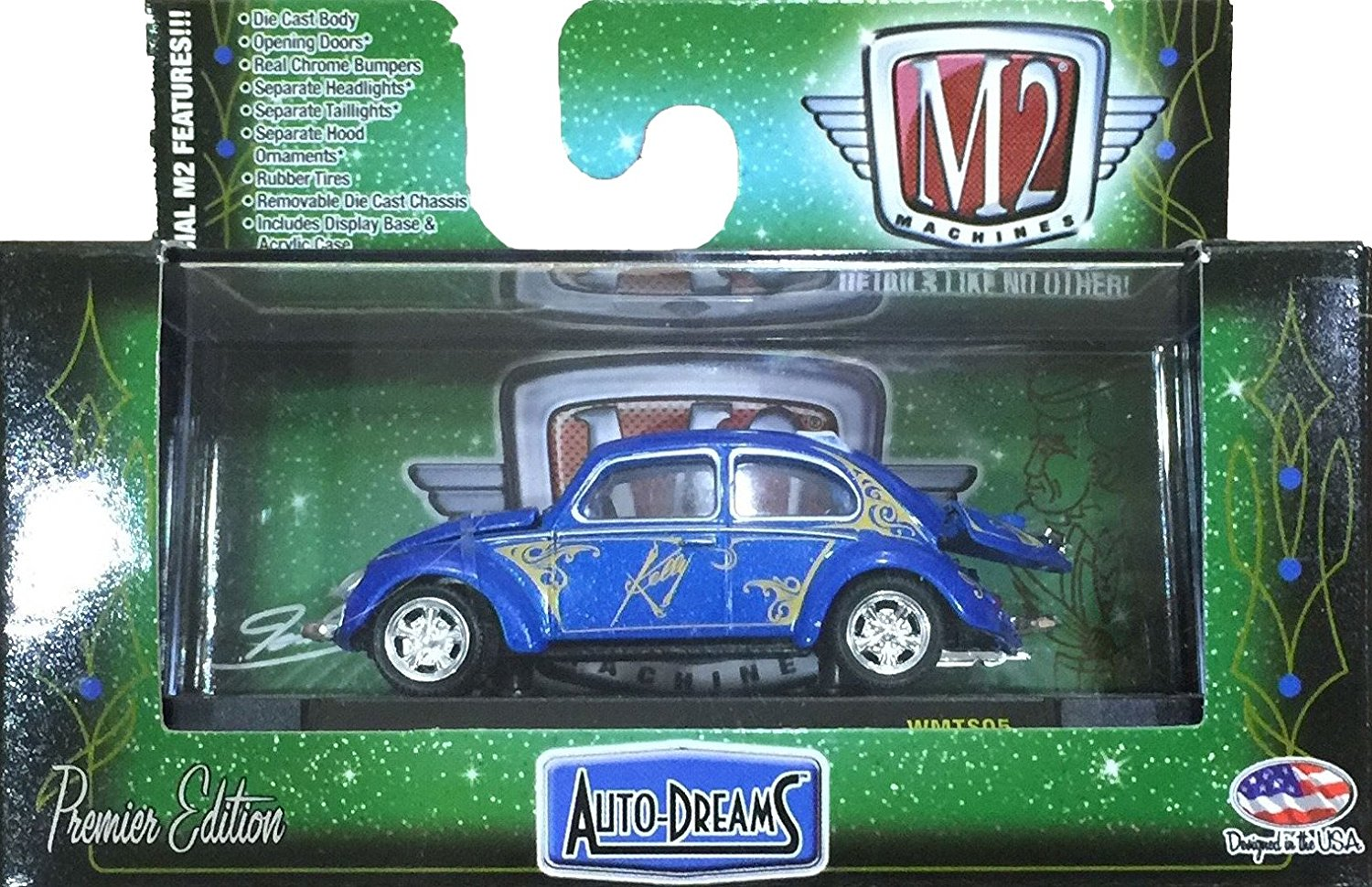 M2 Machines by M2 Collectible Moon 1953 VW Beetle Deluxe U.S.A Model 1:64 Scale MOON02 18-45 Yellow Details Like NO Other 1 of 7200