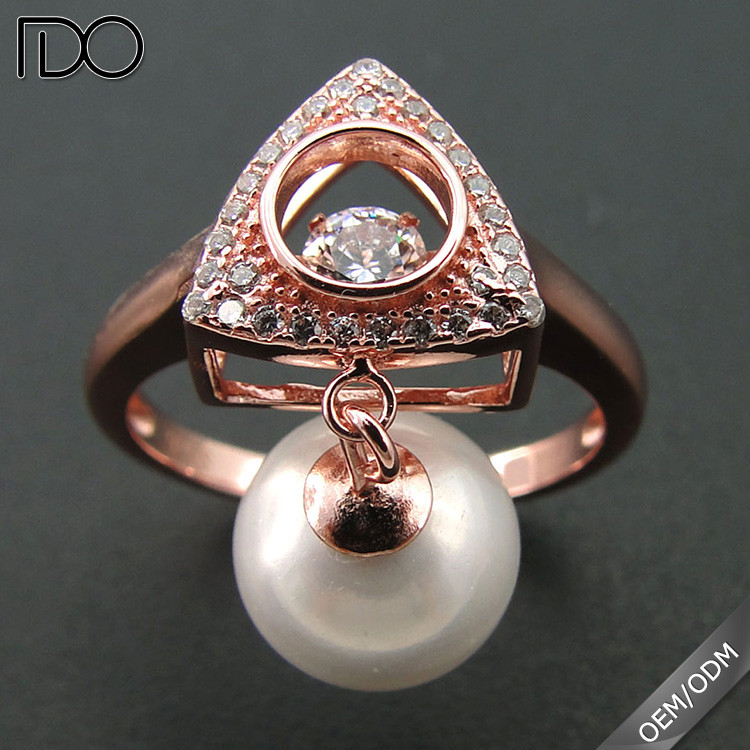 Customize top quality dancing diamond engagement rings with pink pearls