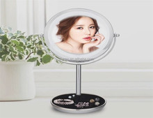 Luxury Double Sided LED Mirror Swivel Make Up illuminated Tabletop Vanity Mirror Touch Vertical mirror
