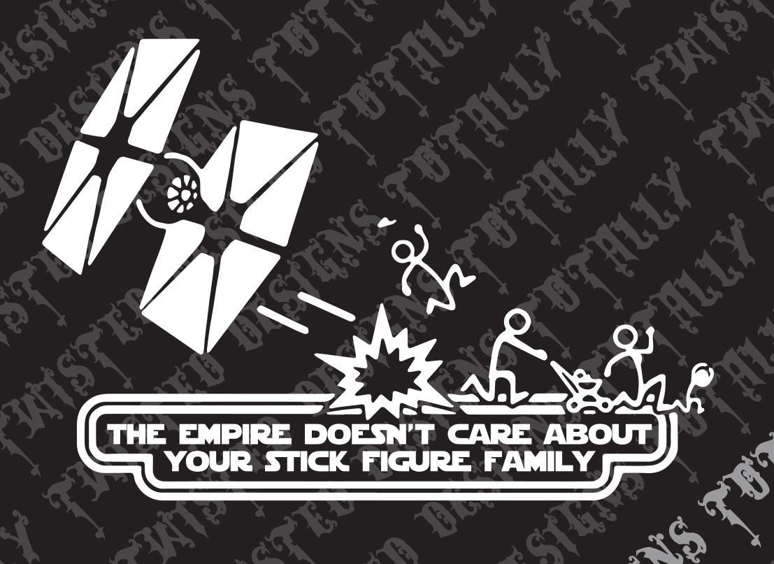 Get quotations · star wars empire doesnt care stick family funny car truck vinyl decal sticker