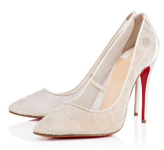 2015 New Fashion Beautiful Lace White Wedding Shoes Women Pumps Party Dance Sexy High-Heeled Shoes