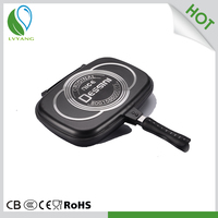Nonstick aluminium material double sided pancake frying pan
