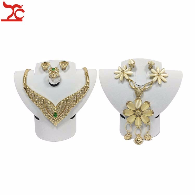 Foldable White Velvet Jewelry Stand Necklace Ring Earring Display Mannequin Bust