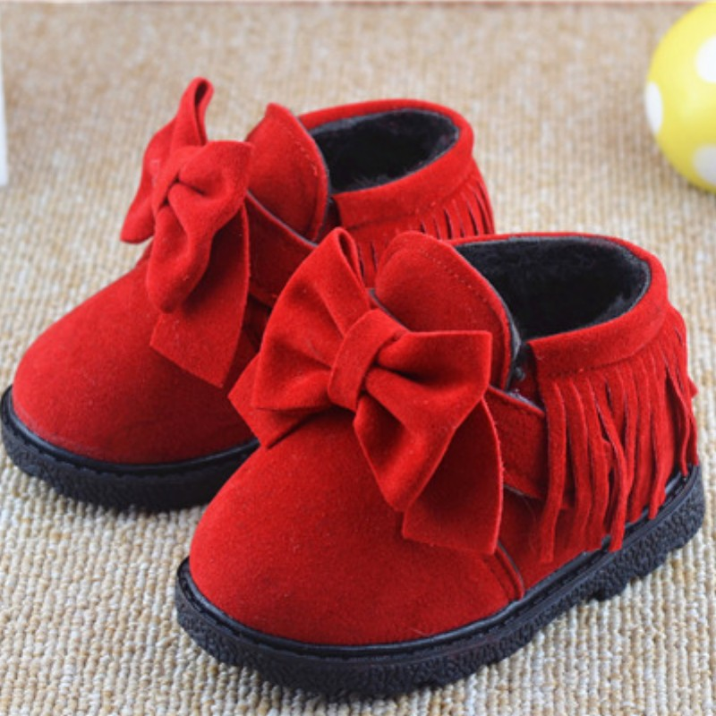 Fashion autumn winter baby girl children warm fringed boots Martin British style shoes for 0 3