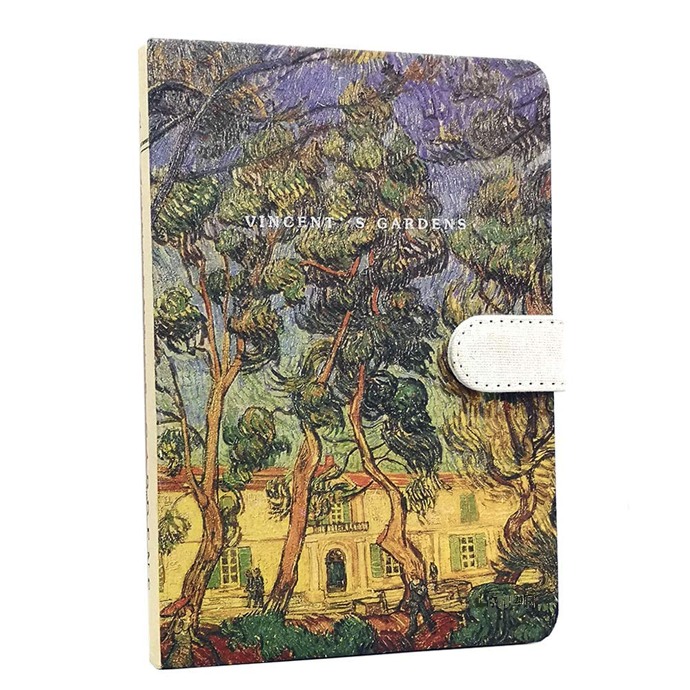 Van Gogh Notebook, Hardcover Journal Daily Planning Notebooks with Magnetic Buckle, Size: A5 128x188mm /128 Sheets / 256 Papers/Ruled, Grid, Kraft Paper & Eyes Protection Cream Color Inner Page