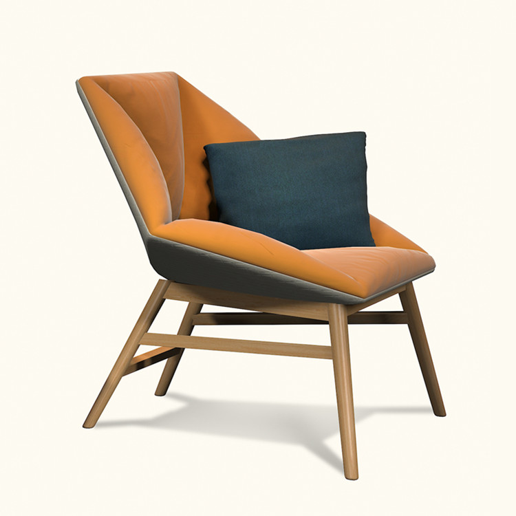modern fashion designer solid wood fabric lounge chair