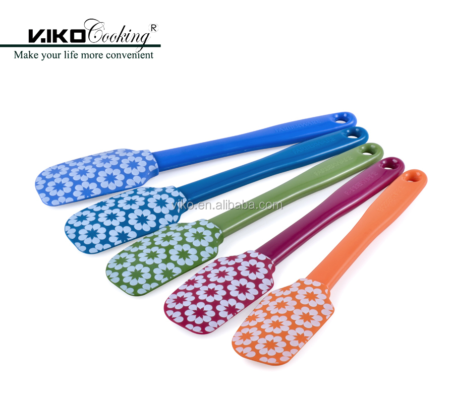 Colorful Pattern Printing Silicone Spatula with PP handle
