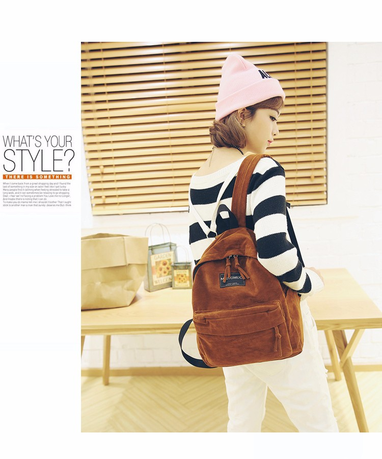 4fed78b9a70 2016 New Women Backpack Preppy Style Suede Backpacks Teenage Girls School  Bags Vintage Rivet Travel Backpack