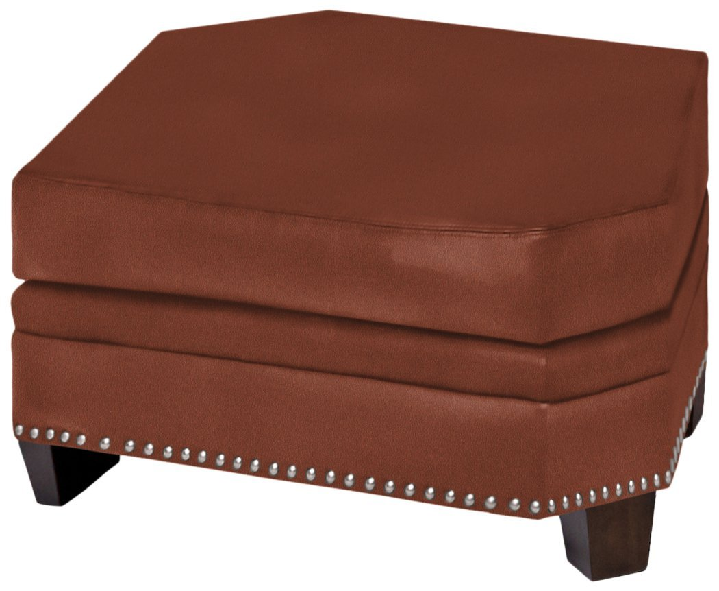 Omnia Leather Glendora Wedge Ottoman in Leather, No Nail Head, Eugene Cognac