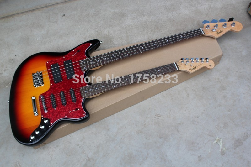 2019 free shipping 2015 new style double neck guitar 4 strings bass 6strings stratocaster. Black Bedroom Furniture Sets. Home Design Ideas