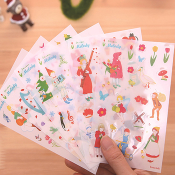 Promotional Mery Christmas Style Cartoon Waterproof Stickers Pvc