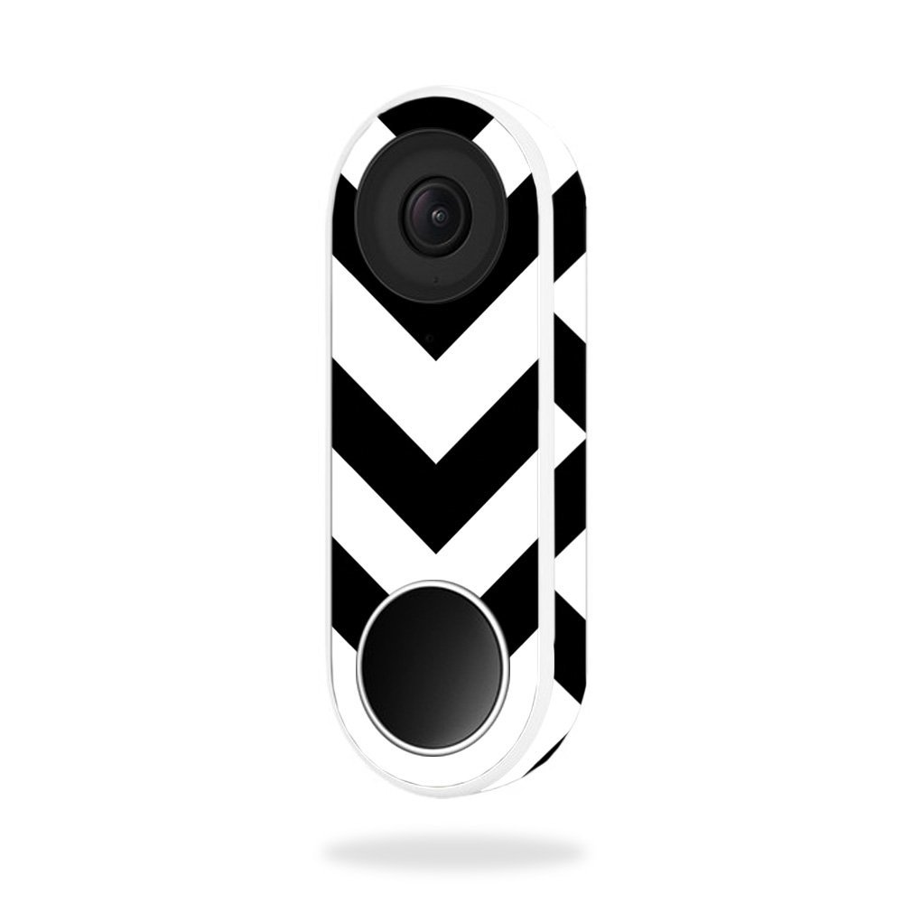 MightySkins Skin for Nest Hello Video Doorbell - Black Chevron | Protective, Durable, and Unique Vinyl Decal wrap Cover | Easy to Apply, Remove, and Change Styles | Made in The USA