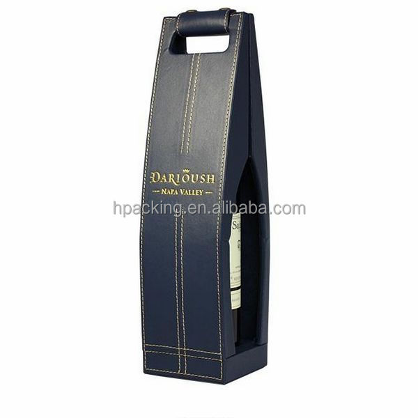 top quality black faux single leather bottle wine bag carrier for sale