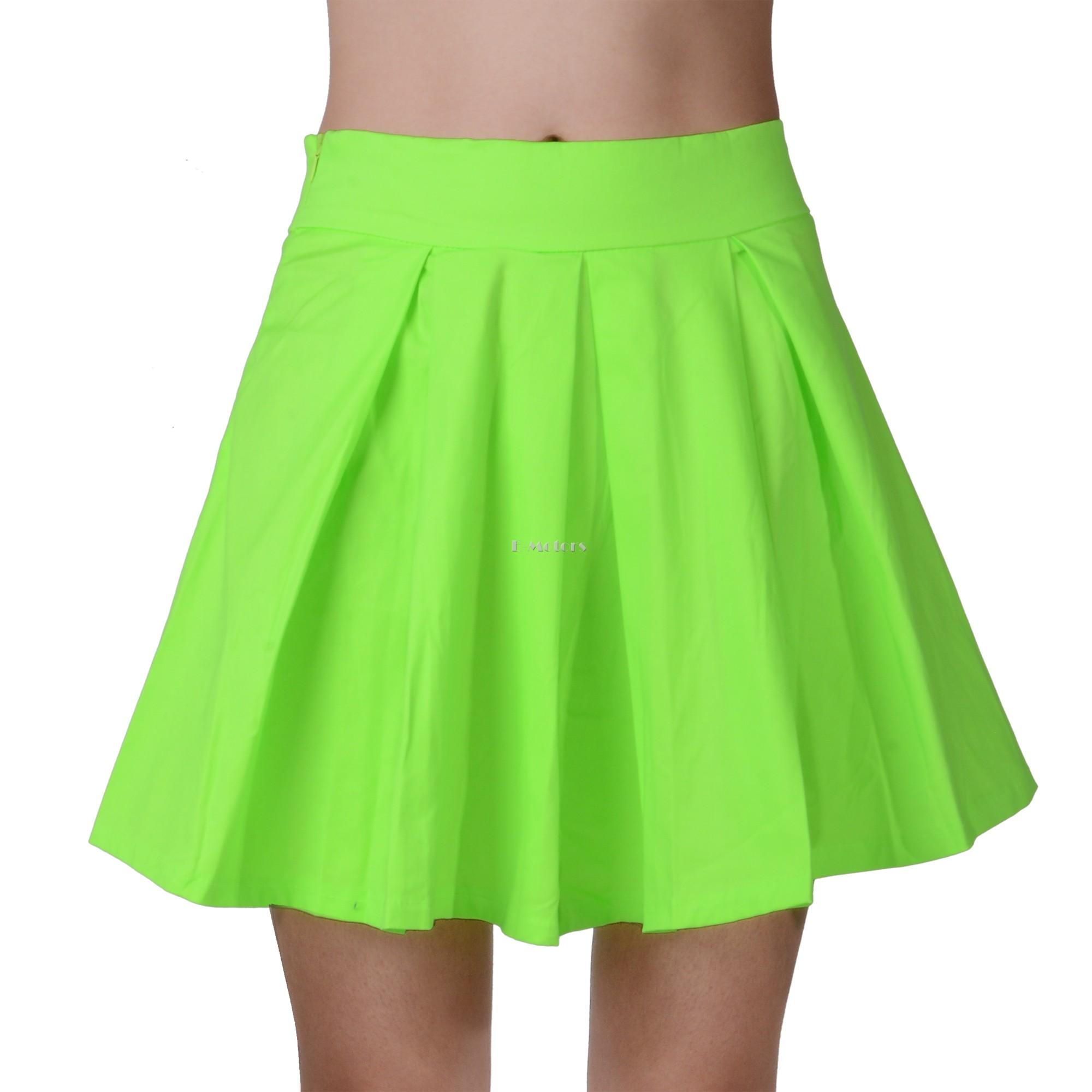 c3241b306498be Women skirts summer 2015 New Fluorescent Green Skater Pleated Mini Short  Skirt 25