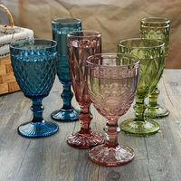 Wholesale handmade restaurant use vintage embossed glass wine colored goblet