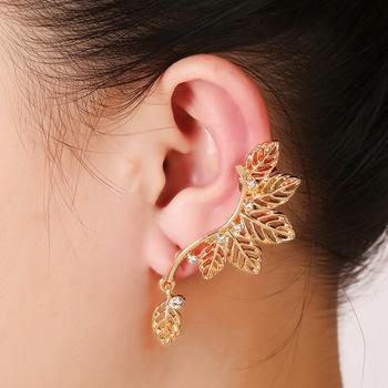 creative handmade earrings olive leaves ear cuff clip earrings