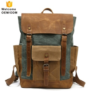 LOW MOQ retro large volume unisex multifunction canvas waterproof large college bag pack water proof bag travel luxury backpack