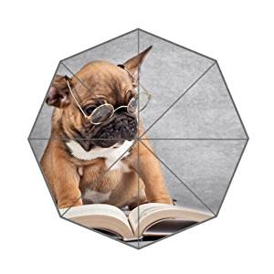 Funny Dog Reading a Book Wearing Spects Customized Good Quality Printing Umbrella