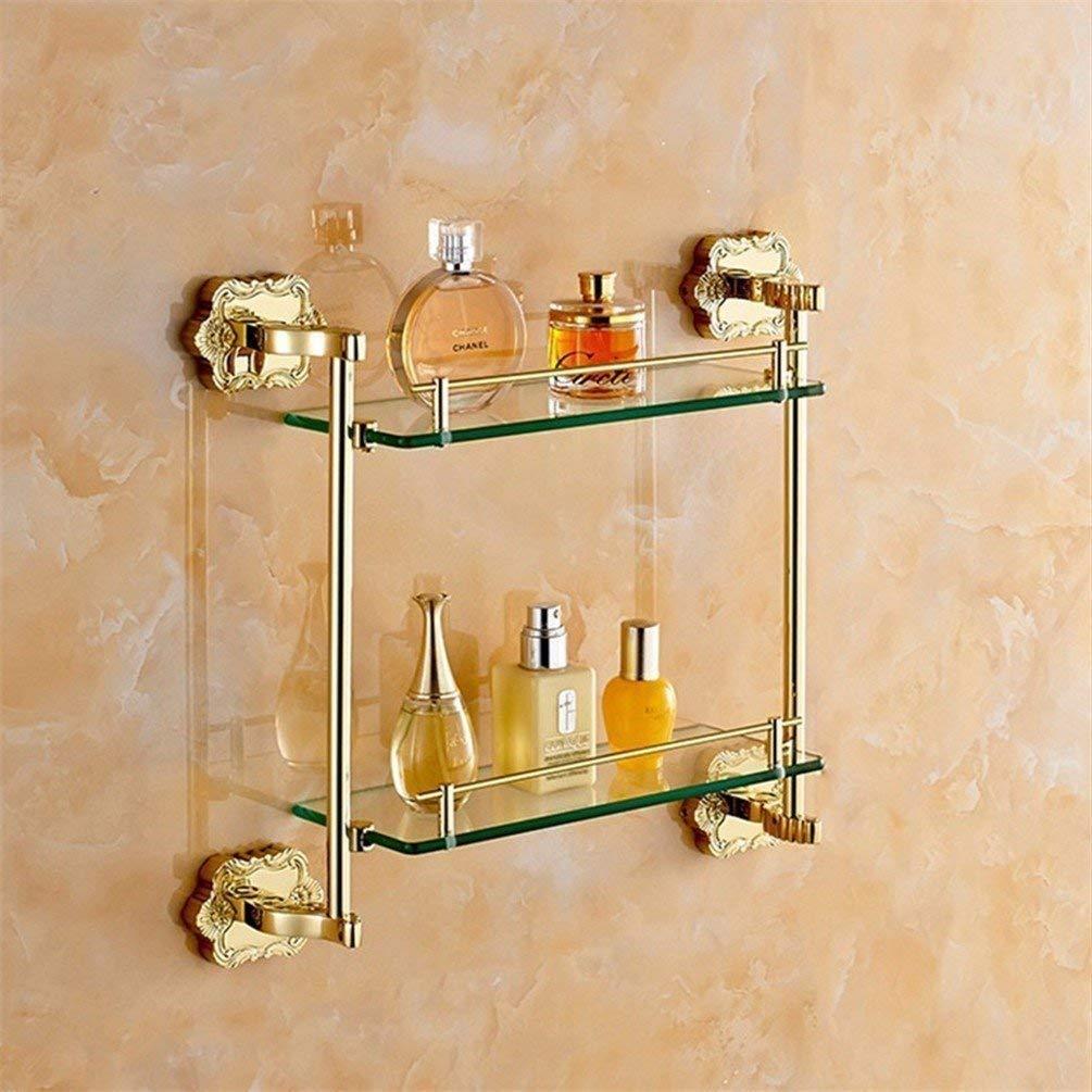 L.I. European-Style Bathroom ACC to Door Kit-Towels Color Gold Bar Carved of Paper Towel Toilet Rack Toilet Brush Holder,2 Rack Shelf