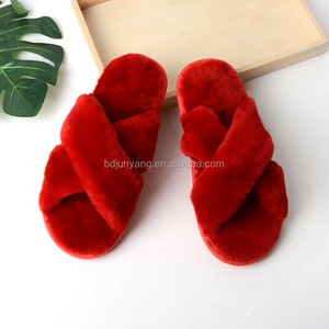 Online shipping Winter lamb fur loafer women sheepskin slides cheap wholesale slippers