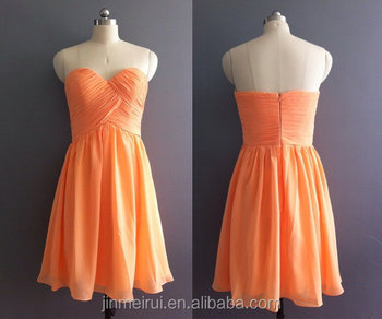 Wholesale Orange colour Chiffon Bridesmaid Dresses 2016 Maid Of Honor Short Bridesmaid Dresses Sweetheart prom dress