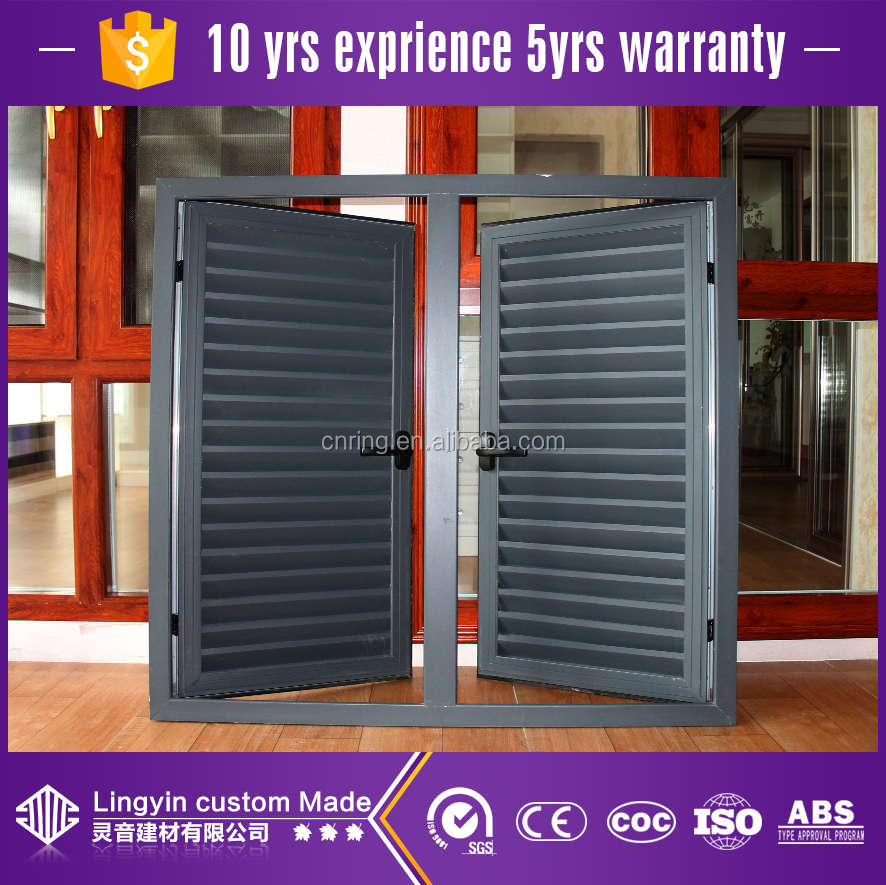 Good ventilation security windows grey color aluminum shutter in good quality